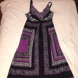 Soma purple, black and white 'kerchief' maxi dress
